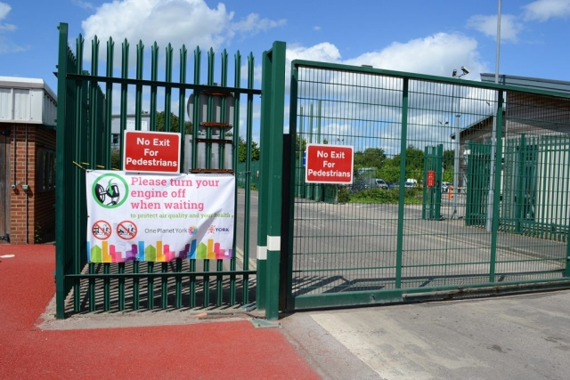 Signage at City of York Council Eco Depot, Hazel Court