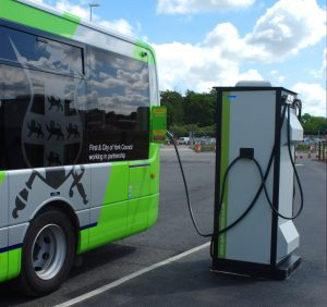 Electric bus charging at Poppleton Bar Park & Ride site