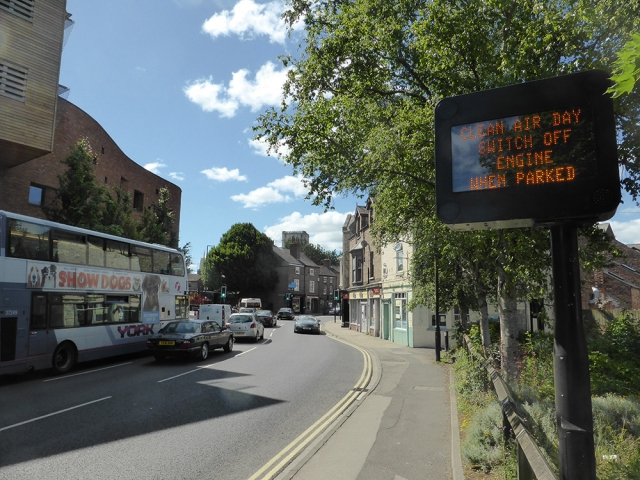 VMS signage in York on National Clean Air Day 2018