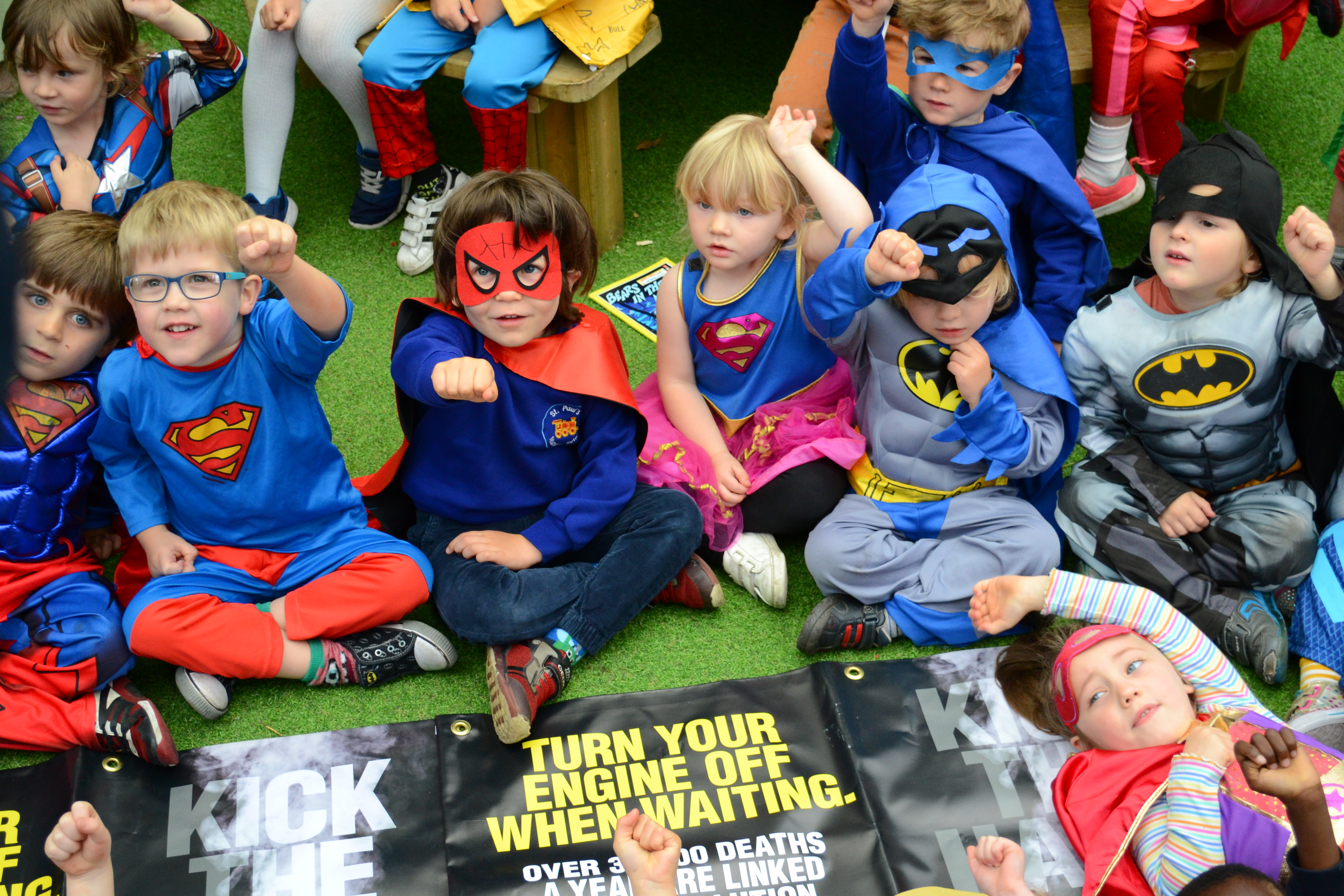 Superheroes at St Paul's Nursery launching the 'Kick the Habit' campaign